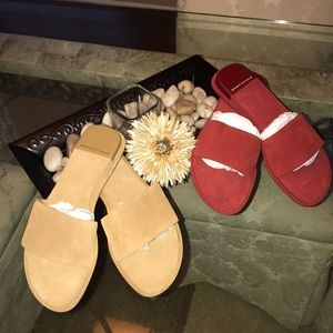 2 Pair of Banana Republic Suede flat slide ons.